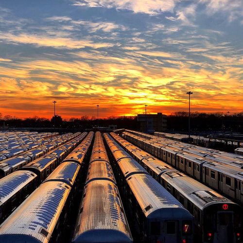 Clouds come floating into my life, to no longer carry rain or usher the storm, but add color to my sunset sky. Sunset Sky Cloud - Sky Transportation Rail Transportation Railroad Track No People Train - Vehicle