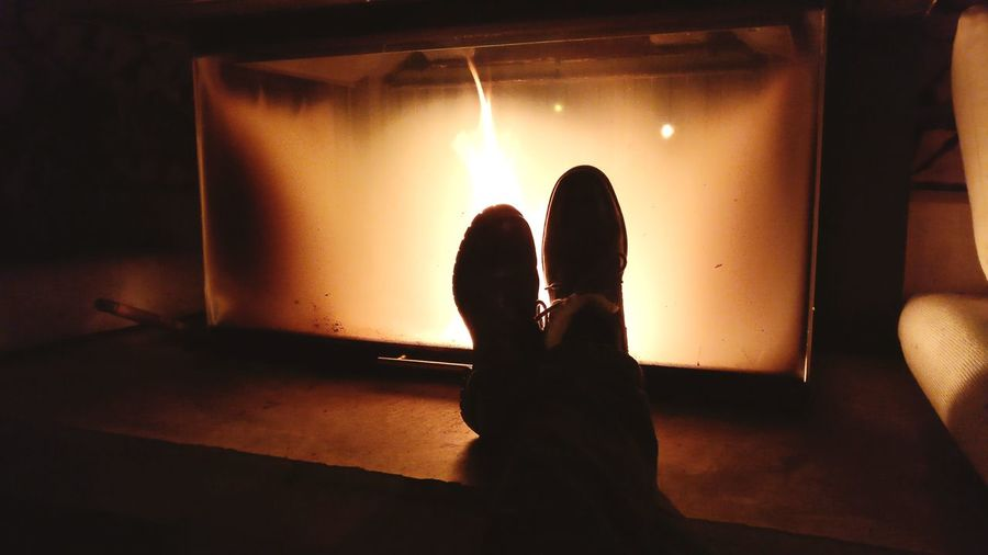 Kaminfeuer Silhouette Night Arts Culture And Entertainment Indoors  People Human Leg Fire Nightlife Only Men First Eyeem Photo